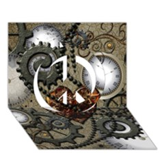 Steampunk With Clocks And Gears And Heart Peace Sign 3d Greeting Card (7x5)  by FantasyWorld7