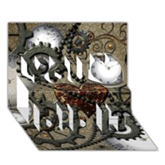 Steampunk With Clocks And Gears And Heart You Did It 3d Greeting Card (7x5) by FantasyWorld7