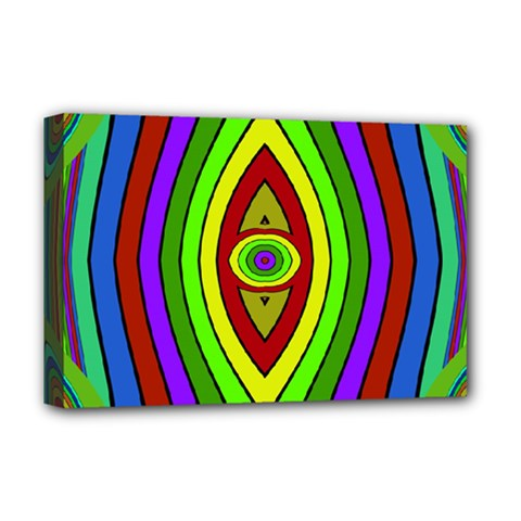 Colorful Symmetric Shapes Deluxe Canvas 18  X 12  (stretched) by LalyLauraFLM