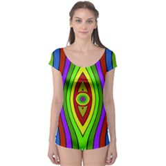 Colorful symmetric shapes Short Sleeve Leotard by LalyLauraFLM