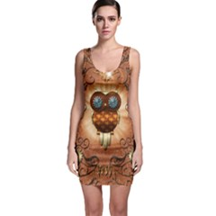 Steampunk, Funny Owl With Clicks And Gears Bodycon Dresses by FantasyWorld7
