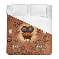 Steampunk, Funny Owl With Clicks And Gears Duvet Cover Single Side (twin Size) by FantasyWorld7