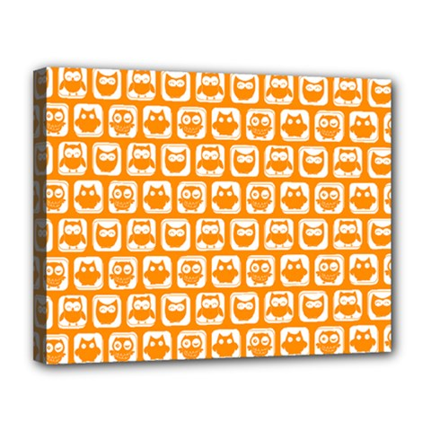 Yellow And White Owl Pattern Canvas 14  X 11  by creativemom
