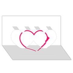 Customizable Shotgun Heart Twin Hearts 3d Greeting Card (8x4)