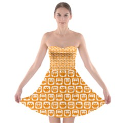 Yellow And White Owl Pattern Strapless Bra Top Dress by creativemom