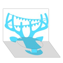 Party Deer With Bunting Circle Bottom 3d Greeting Card (7x5)