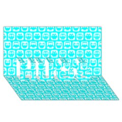Aqua Turquoise And White Owl Pattern Hugs 3d Greeting Card (8x4)