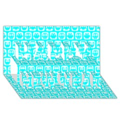 Aqua Turquoise And White Owl Pattern Happy New Year 3d Greeting Card (8x4)  by creativemom