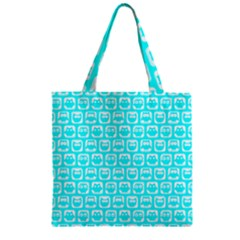 Aqua Turquoise And White Owl Pattern Zipper Grocery Tote Bags by creativemom