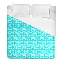 Aqua Turquoise And White Owl Pattern Duvet Cover Single Side (twin Size) by creativemom