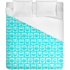 Aqua Turquoise And White Owl Pattern Duvet Cover Single Side (double Size) by creativemom