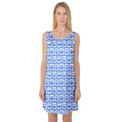 Blue And White Owl Pattern Sleeveless Satin Nightdresses