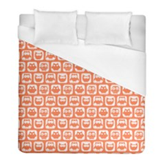 Coral And White Owl Pattern Duvet Cover Single Side (twin Size) by creativemom