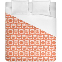 Coral And White Owl Pattern Duvet Cover Single Side (Double Size) by creativemom