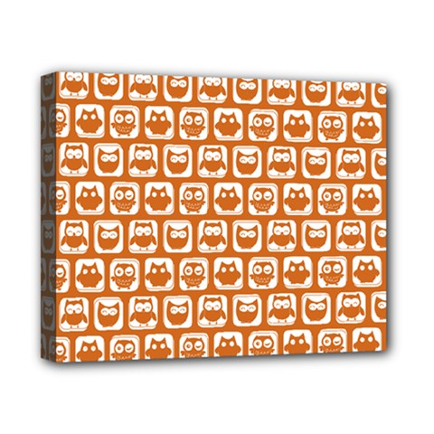 Orange And White Owl Pattern Canvas 10  X 8  by creativemom