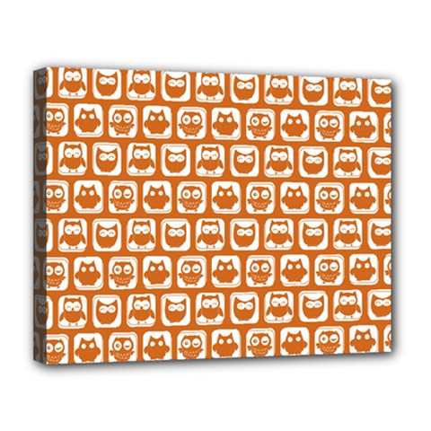 Orange And White Owl Pattern Canvas 14  X 11  by creativemom
