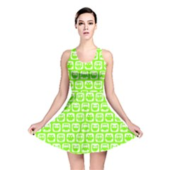 Lime Green And White Owl Pattern Reversible Skater Dresses by creativemom