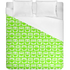Lime Green And White Owl Pattern Duvet Cover Single Side (Double Size) by creativemom