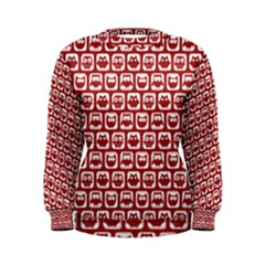 Red And White Owl Pattern Women s Sweatshirts