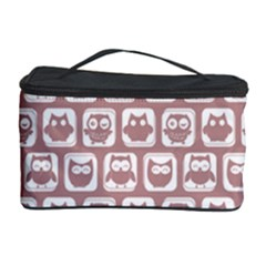 Light Pink And White Owl Pattern Cosmetic Storage Cases by creativemom
