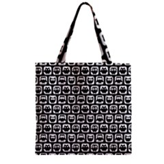 Black And White Owl Pattern Zipper Grocery Tote Bags by creativemom