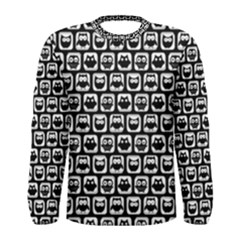 Black And White Owl Pattern Men s Long Sleeve T Shirts by creativemom