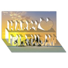 Beautiful Island In The Sunset Happy Birthday 3d Greeting Card (8x4)  by FantasyWorld7