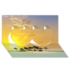 Beautiful Island In The Sunset Twin Hearts 3d Greeting Card (8x4)