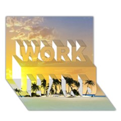 Beautiful Island In The Sunset Work Hard 3d Greeting Card (7x5)  by FantasyWorld7