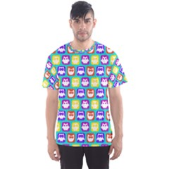 Colorful Whimsical Owl Pattern Men s Sport Mesh Tees
