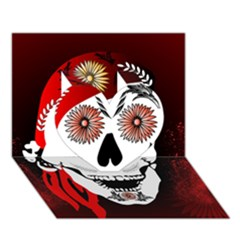 Funny Happy Skull Heart 3d Greeting Card (7x5)  by FantasyWorld7