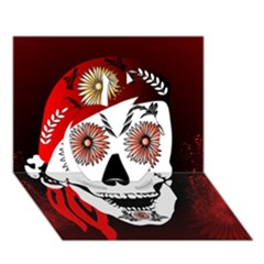 Funny Happy Skull Apple 3d Greeting Card (7x5)  by FantasyWorld7
