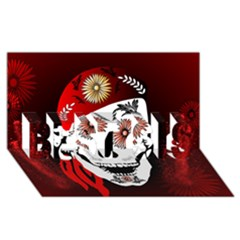 Funny Happy Skull Best Sis 3d Greeting Card (8x4)  by FantasyWorld7