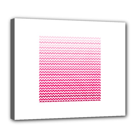 Pink Gradient Chevron Deluxe Canvas 24  X 20   by CraftyLittleNodes