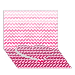Pink Gradient Chevron Heart Bottom 3d Greeting Card (7x5)
