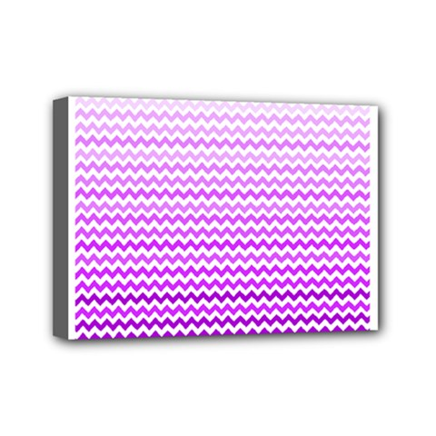 Purple Gradient Chevron Mini Canvas 7  x 5  by CraftyLittleNodes
