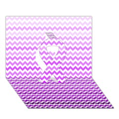 Purple Gradient Chevron Ribbon 3d Greeting Card (7x5)
