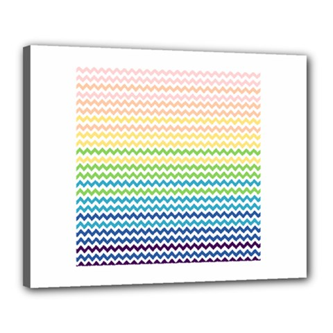 Pastel Gradient Rainbow Chevron Canvas 20  x 16  by CraftyLittleNodes