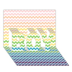 Pastel Gradient Rainbow Chevron Boy 3d Greeting Card (7x5)