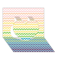 Pastel Gradient Rainbow Chevron Heart 3d Greeting Card (7x5)  by CraftyLittleNodes