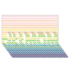 Pastel Gradient Rainbow Chevron #1 Mom 3d Greeting Cards (8x4)  by CraftyLittleNodes