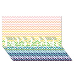 Pastel Gradient Rainbow Chevron Engaged 3d Greeting Card (8x4)