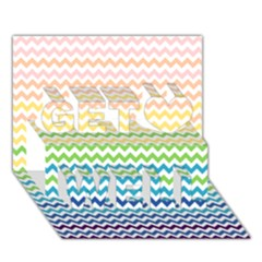 Pastel Gradient Rainbow Chevron Get Well 3d Greeting Card (7x5)