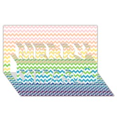 Pastel Gradient Rainbow Chevron Merry Xmas 3d Greeting Card (8x4)  by CraftyLittleNodes