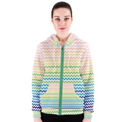 Pastel Gradient Rainbow Chevron Women s Zipper Hoodies by CraftyLittleNodes