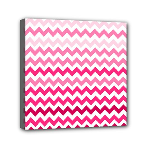 Pink Gradient Chevron Large Mini Canvas 6  X 6  by CraftyLittleNodes
