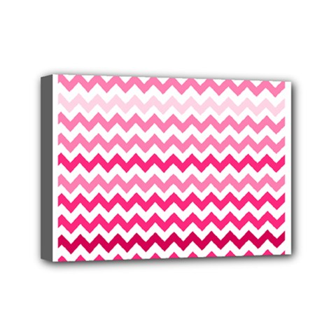Pink Gradient Chevron Large Mini Canvas 7  x 5  by CraftyLittleNodes