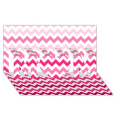 Pink Gradient Chevron Large Mom 3d Greeting Card (8x4)  by CraftyLittleNodes