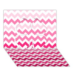 Pink Gradient Chevron Large Clover 3d Greeting Card (7x5)