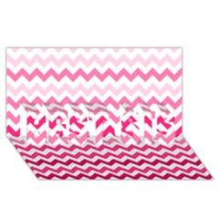 Pink Gradient Chevron Large Best Sis 3d Greeting Card (8x4)  by CraftyLittleNodes